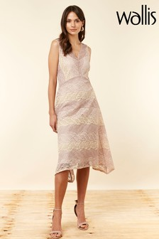 Wallis Blush Stripe Lace Hanky Hem Dress