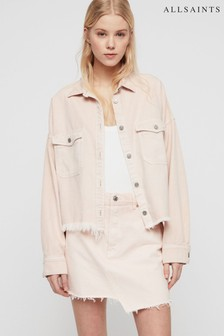 AllSaints Pink Lightweight Boxy Denim Jacket