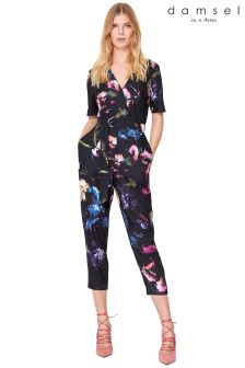 Damsel Purple Pixelated Floral Jumpsuit