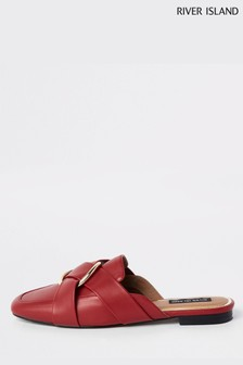 River Island Red Backless Hardware Knot Loafer