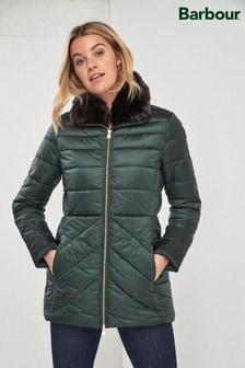 Barbour® Tartan Khaki Luxe Shannon Quilt Coat