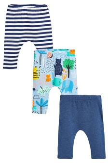 Print And Stripes Leggings Three Pack (0mths-2yrs)