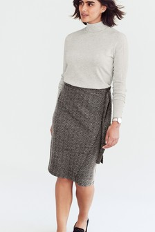 Chevron Jacquard Wrap Skirt