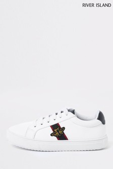 River Island White Bee Lace-Up Trainer Infant