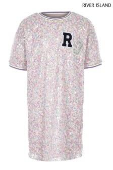 River Island Pink Sequin Tea Dress