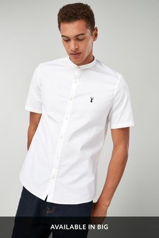 Short Sleeve Stretch Oxford Grandad Collar Shirt