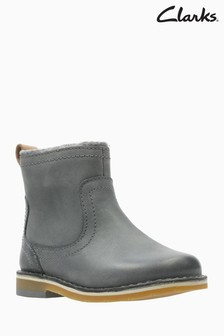 c6b3dd8cbeee7 Clarks Grey Leather Comet Frost Ankle Boot