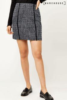 Warehouse Blue Bridget Tweed Pelmet Skirt