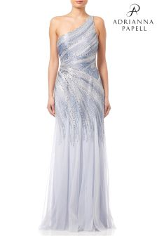 Adrianna Papell Serenity One Shoulder Beaded Evening Dress