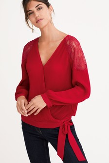 Lace Insert Pleat Wrap Top