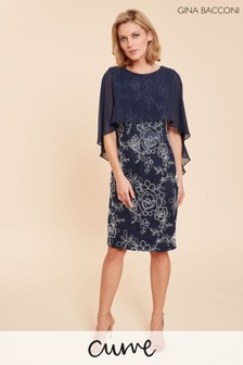 Gina Bacconi Blue Effie Dress With Overcape