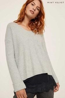 Mint Velvet Grey Wrapped Back Layered Knit