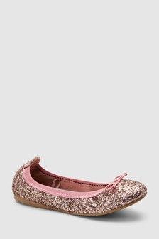 462b747cd64a Pink Glitter Flexi Ballerinas (Older)