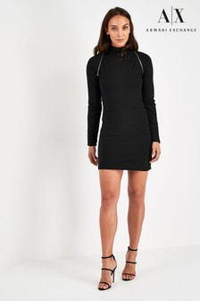 Armani Exchange Black Zip Dress