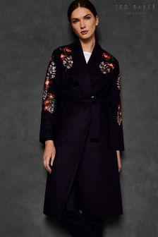 Ted Baker Blue Sirenaa Embroidered Kimono Coat