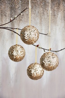 Set of 4 Sequin Baubles