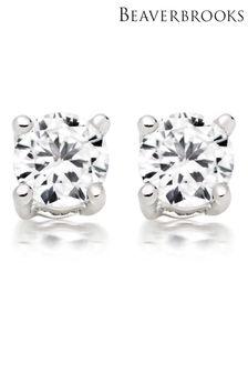 Beaverbrooks Sterling Silver Cubic Zirconia Stud Earrings