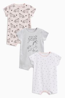 Unicorn Print Romper Three Pack (0mths-2yrs)