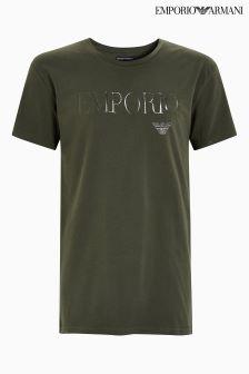 Emporio Armani Khaki Logo T-Shirt