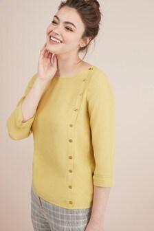 3/4 Sleeve Button T-Shirt