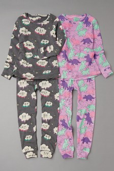 Dino Snuggle Fit Pyjamas Two Pack (3-16yrs)