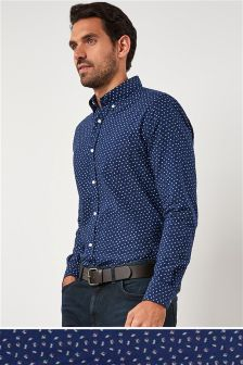 Long Sleeve Roll Sleeved Printed Oxford Shirt