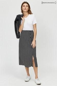 Warehouse Black Stripe Button Side Midi Skirt