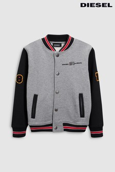 Diesel® Kids Grey/Black Sonti Graphic Bomber Jacket