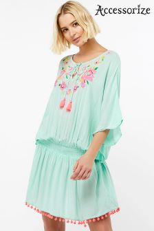 Accessorize Green Scarlet Embroidered Kaftan
