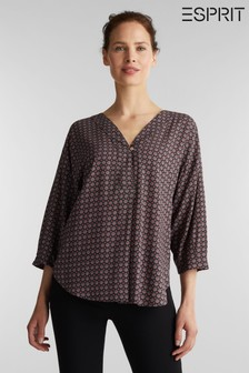 Esprit Black 3/4 Sleeved  Woven Blouse With Print