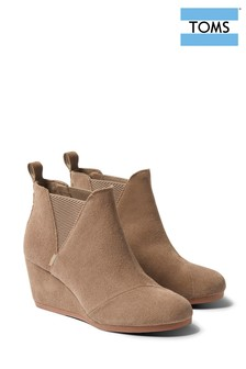 TOMS Taupe Wedge Chelsea Boots
