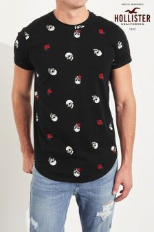 Hollister Floral Curved Hem T-Shirt