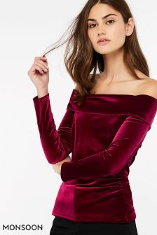 Monsoon Red Barbara Bardot Velvet Top