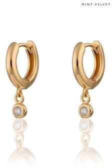 Mint Velvet Gold Tone Sparkle Huggie Earring