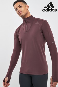 adidas Burgundy Supernova Half Zip Top