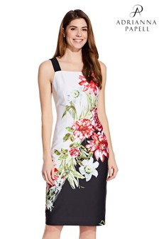 Adrianna Papell White Scuba Printed Sheath Dress