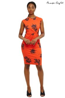 Phase Eight Orange/Navy Rafaelo Print Dress