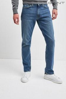 Modré džínsy v klasickom strihu GANT