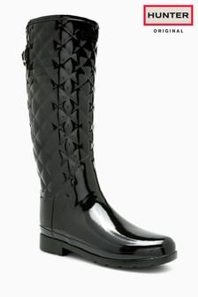 Hunter Black Gloss Quilted Refined Welly