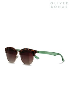 Oliver Bonas Brown Rounded Clubmaster Sunglasses