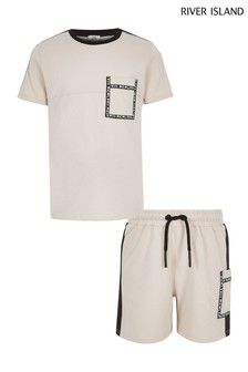 River Island White Taped Utility Short Set