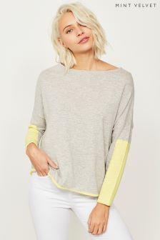 Mint Velvet Grey Blocked Sleeve Cocoon Knit