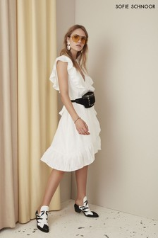 Sofie Schnoor White Textured Ruffle Wrap Dress