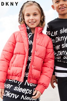 DKNY Girls Pink Padded Jacket With Contrast Hood