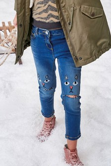Cat Embroidered Skinny Jeans (3-16yrs)