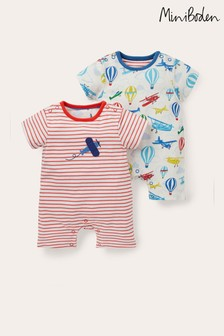 Boden Ivory Planes Rompers Twin Pack