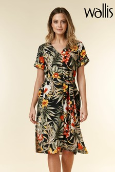 Wallis Black Petite Tropical Print Shirt Dress