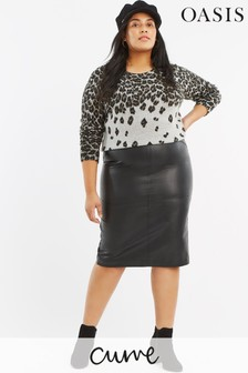 Oasis Black Curve PU Pencil Skirt