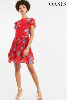 Oasis Red Bloom Chiffon Pleat Skater Dress
