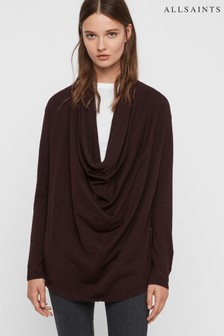 AllSaints Burgundy Cowl Neck Remmy Jumper